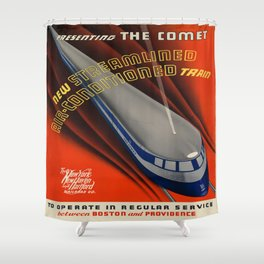 Vintage poster - The Comet Shower Curtain