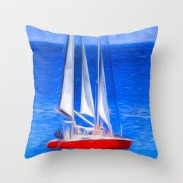 Catamaran Art Barbados Throw Pillow
