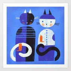 BLUE CATS ORANGE BIRDS Art Print