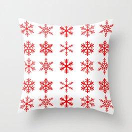 red snowflake seamless pattern Throw Pillow