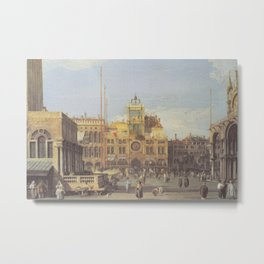 Piazza San Marco Clock Tower - Canaletto (Distressed Plaster Look) Metal Print
