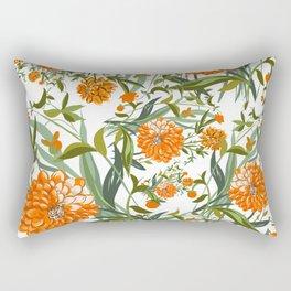 Orange Spring Summer Flowers Boho Rectangular Pillow