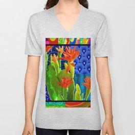 Orange Cactus Rainbow Unisex V-Neck