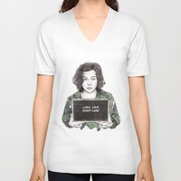 coconutwishes V-neck T-shirts featuring Long Hair Don't Care by Coconut Wishes
