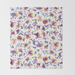 watery hibiscus flowers - Multicolored tropical pattern Throw Blanket