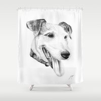 jack russell Shower Curtains featuring Jack Russell  by sarah illustration