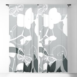 PPG Night Watch Pewter Green Botanicals and Butterflies Graphic Design Blackout Curtain