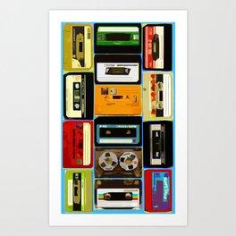 Retro Music Cassette Tapes - In Color Art Print