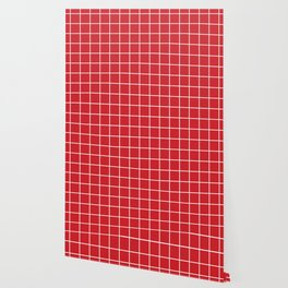 Fire engine red - red color -  White Lines Grid Pattern Wallpaper