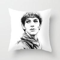 merlin Throw Pillows featuring Merlin by Anna Tromop Illustration