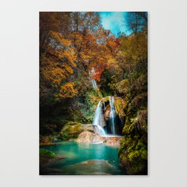 urederra river waterfall, cascada rio urederra navarra , north Spain Canvas Print