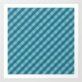 Blue plaid Art Print