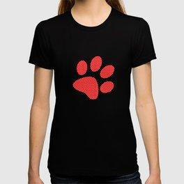 Tiny Paw Prints Pattern - Bright Red & White T-shirt