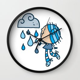 Rain Cloud Girl Wall Clock