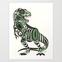 t rex Art Prints featuring T-rex by Jenni D.