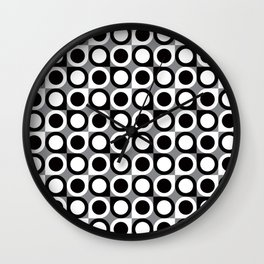 Geometric Pattern #193 (black gray circles) Wall Clock