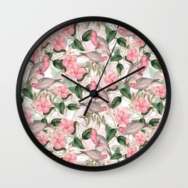 Vintage & Shabby Chic - Pink Tropical Birds And Flowers Wall Clock
