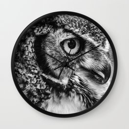 Bird Photography | Owl Black and White Minimalism | Wildlife | By Magda Opoka Wall Clock