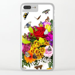 Flower Bouquet With Butterflies Clear iPhone Case
