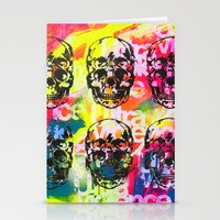 ultraviolence Stationery Cards featuring Ultraviolence 4i skull - mixed media on canvas by kakin