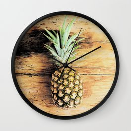Pineapple on wood arty Wall Clock