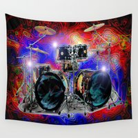 drums Wall Tapestries featuring Psychedelic Drums by JT Digital Art