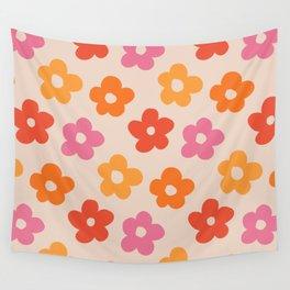 Retro 60s 70s Flowers Pattern #pattern #vintage Wall Tapestry