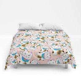Maneki-neko good luck cat pattern Comforters