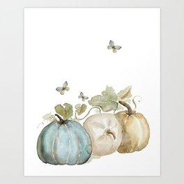 Watercolor neutral pumpkin  Art Print