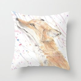 """Watercolor Painting of Picture """"Fox in the Rain"""" Throw Pillow"""