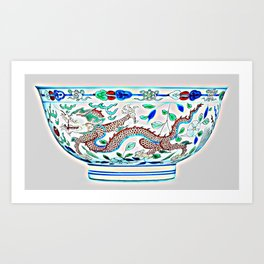 Blue Chinese Chinoiserie Pottery Watercolor Series,  No 2a by Adam Asar Art Print