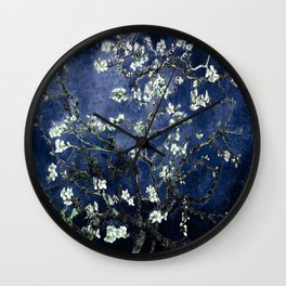 Vincent Van Gogh Almond Blossoms Dark Blue Wall Clock
