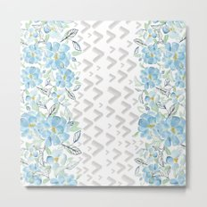 Gray arrows and blue flowers Metal Print