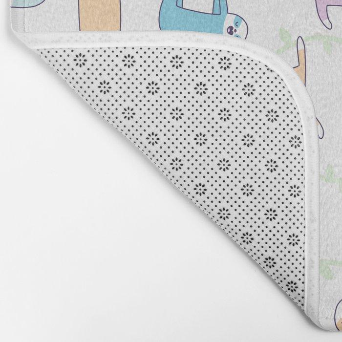 Lazy Sloths Doodle - Pastel and Kawaii Bath Mat