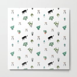 cats and pots pattern Metal Print