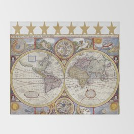 Vintage Map with Stars Throw Blanket