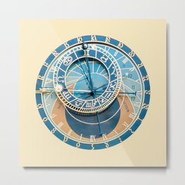 Closeup on Prague Astronomical Clock Metal Print