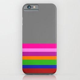 Solid Gray w/ Multicolor Divider Lines #1 - Abstract Art Illustration iPhone Case