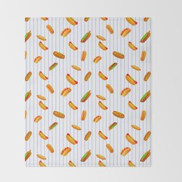 Hot Dog Pattern With Pinstripes Throw Blanket