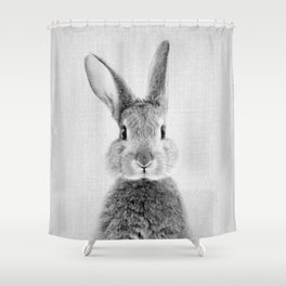 Rabbit - Black & White Shower Curtain