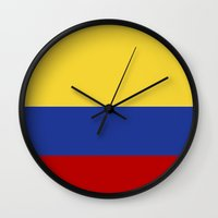colombia Wall Clocks featuring colombia country flag by tony tudor