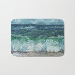 Watercolor Painting, Ocean Watercolor, Seascape Landscape Bath Mat
