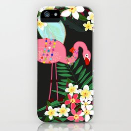 Tropical Pattern With Frangipani and Flamingo iPhone Case