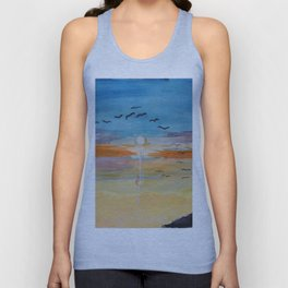 Birds and sunset Unisex Tank Top