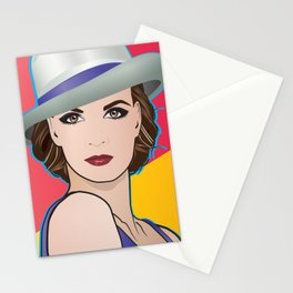 Beautiful Pop Art Woman Ingrid with Hat Stationery Cards