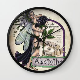 Black Rose Absinthe by Bobbie Berendson W Wall Clock