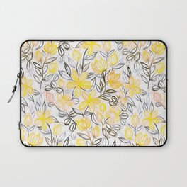 Sunny Yellow Crayon Striped Summer Floral Laptop Sleeve