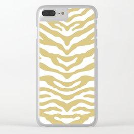Zebra Wild Animal Print Gold Clear iPhone Case