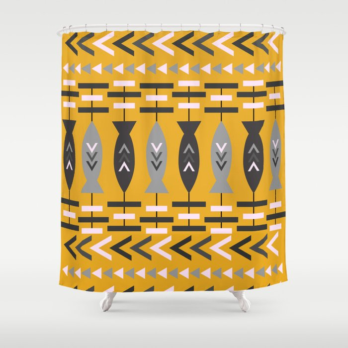 Aztec Pattern With Fish Ochre Shower Curtain
