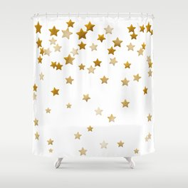 Falling Stars - Gold Marble Shower Curtain